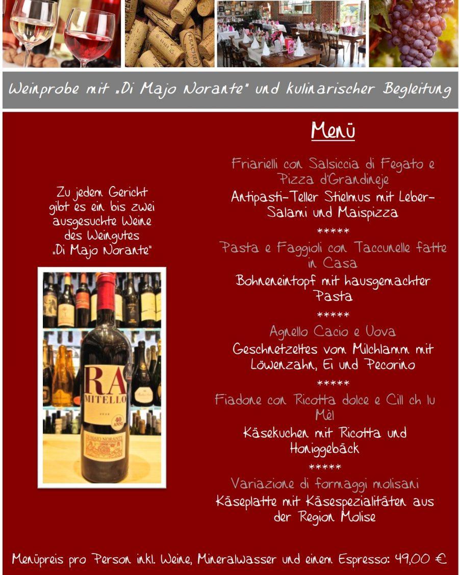 Menü für die Weinprobe am 4. April
